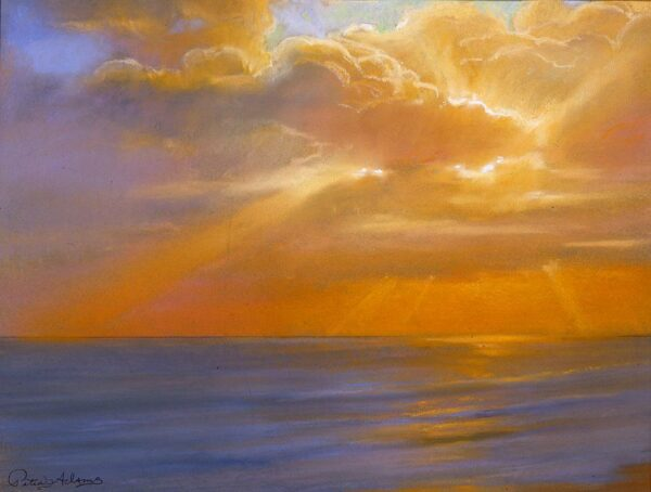 """American Legacy Fine Arts presents """"Autumn Sunset at Malibu"""" a painting by Peter Adams."""