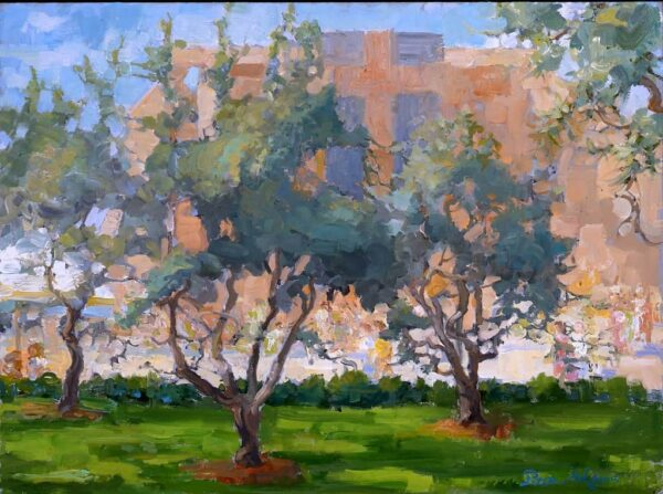 """American Legacy Fine Arts presents """"Cathedral of Our Lady of Angeles through the Olive Garden"""" a painting by Peter Adams."""
