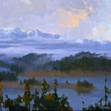 """American Legacy Fine Arts presents """"Could Opening over Trinity Alps; Shasta, California"""" a painting by Peter Adams."""
