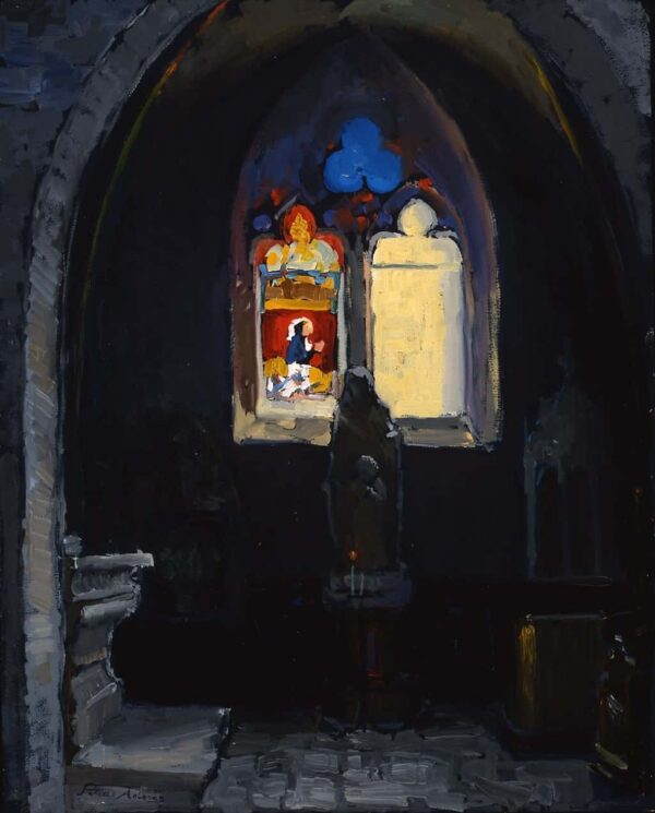 """American Legacy Fine Arts presents """"Form and Void; Notre Dame Cathedral, Beaune, Burgundy"""" a painting by Peter Adams."""