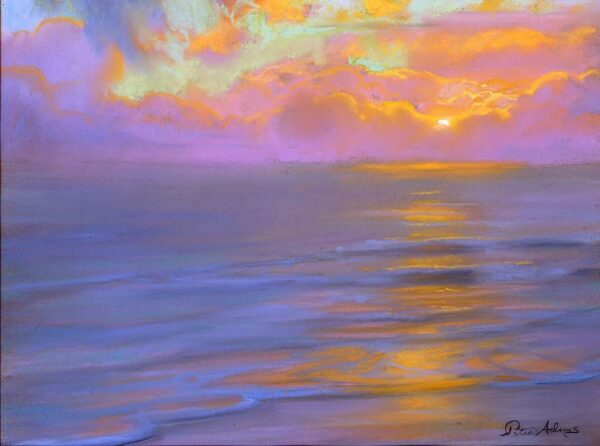 """American Legacy Fine Arts presents """"Lavender Horizon and Westward Beach"""" a painting by Peter Adams."""