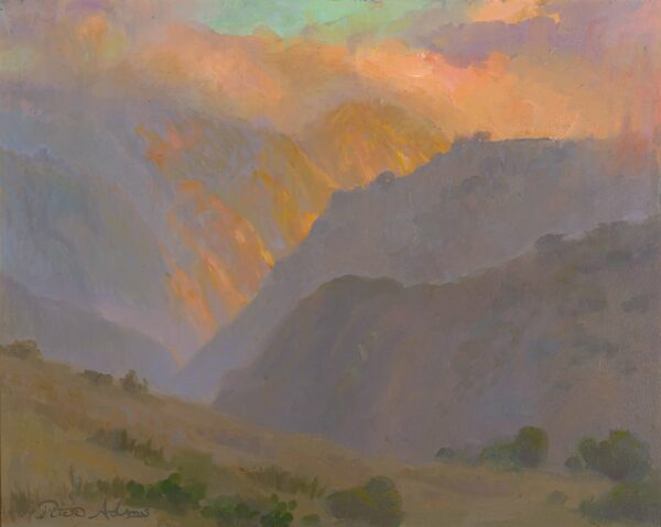 """American Legacy Fine Arts presents """"Afternoon Fogbank over Silver Canyon, Catalina Island"""" a painting by Peter Adams."""