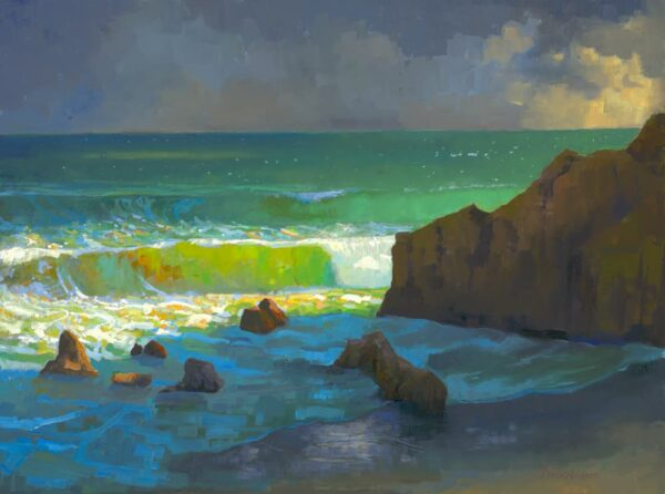 """American Legacy Fine Arts presents """"Afternoon Storm Clouds over Leo Carillo Beach"""" a painting by Peter Adams."""