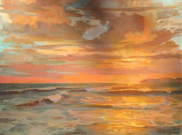 """American Legacy Fine Arts presents """"Autumn Sunset; St. Malo beach"""" a painting by Peter Adams."""