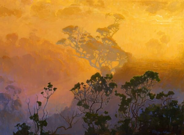 """American Legacy Fine Arts presents """"California Wilderness in Fog; Palo Alto"""" a painting by Peter Adams."""