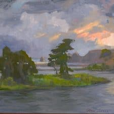 """American Legacy Fine Arts presents """"Caught in Storm; Russian River Delta"""" a painting by Peter Adams."""