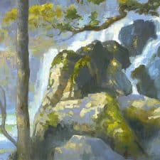 """American Legacy Fine Arts presents """"Chilnuhuana Falls' a painting by Peter Adams."""