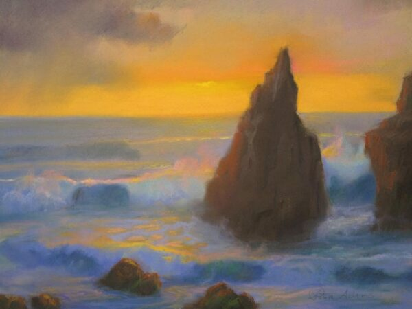 """American Legacy Fine Arts presents """"Coming Storm at Sunset Sharks Cove, Catalina"""" a painting by Peter Adams."""