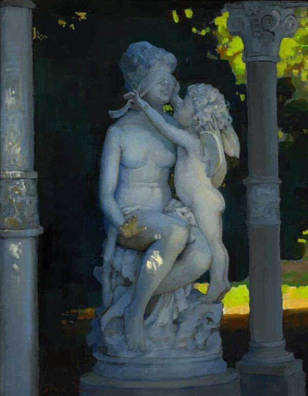 """American Legacy Fine Arts presents """"Cupid and Psyche; Huntington Gardens"""" a painting by Peter Adams."""