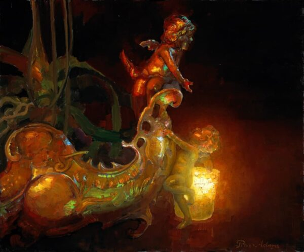 """American Legacy Fine Arts presents """"Cupids Ascending the Silver Ark"""" a painting by Peter Adams."""