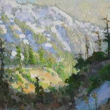 """American Legacy Fine Arts presents """"Early Spring Afternoon Light on Mt. Baldy"""" a painting by Peter Adams."""