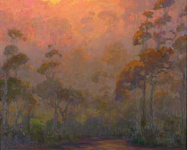 """American Legacy Fine Arts presents """"Eucalyptus Evening; Carlsbad"""" a painting by Peter Adams."""