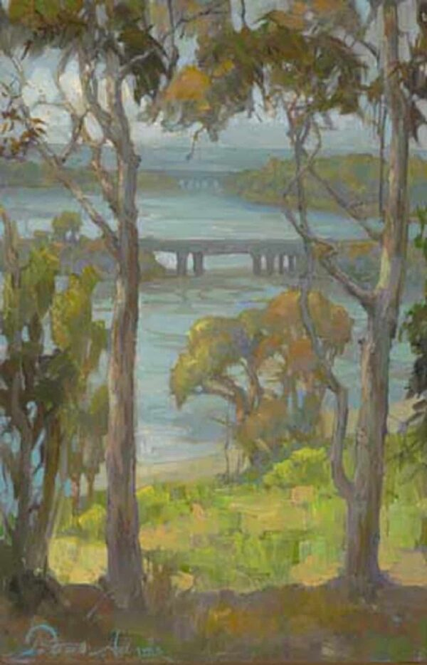 """American Legacy Fine Arts presents """"Eucalyptus at Batiquitos"""" a painting by Peter Adams."""