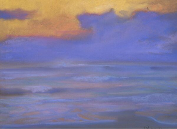 """American Legacy Fine Arts presents """"Evening Fog Bank at Zuma"""" a painting by Peter Adams."""