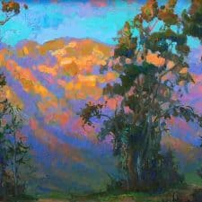 """American Legacy Fine Arts presents """"Evening Glow on Mt. Lowe"""" a painting by Peter Adams."""