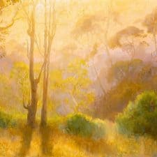 """American Legacy Fine Arts presents """"First Morning Light; Batiquitos Lagoon, California"""" a painting by Peter Adams."""