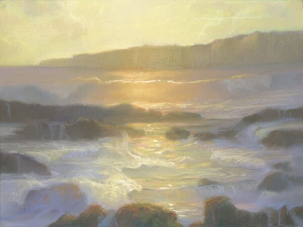 """American Legacy Fine Arts presents """"Golden Tide Pools; Abalone Cove"""" a painting by Peter Adams."""