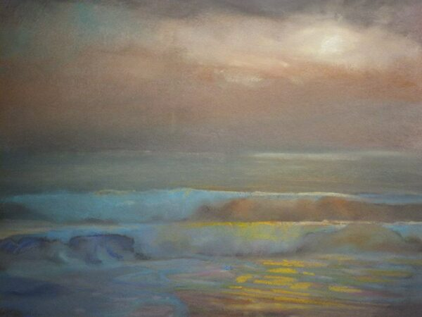 """American Legacy Fine Arts presents """"Hidden Light from St. Malo Beach"""" a painting by Peter Adams."""