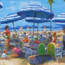 """American Legacy Fine Arts presents """"Lunch Time Under the Umbrellas"""" a painting by Peter Adams."""