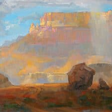 """American Legacy Fine Arts presents """"Midday Showers at Lees Ferry"""" a painting by peter Adams."""
