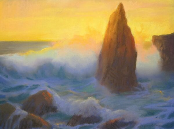 """American Legacy Fine Arts presents, """"Monoliths at Sunset Sharks Cove Catalina"""" a painting by Peter Adams."""