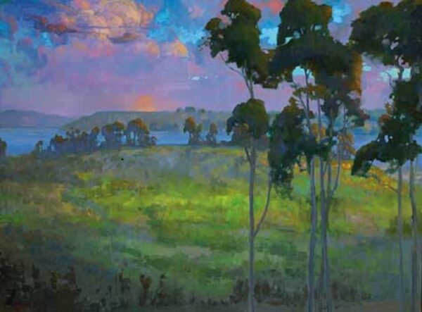 """American Legacy Fine Arts presents """"Moonrise over Batiquitos Lagoon"""" a painting by Peter Adams."""