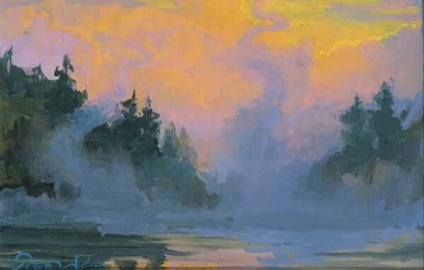 """American Legacy Fine Arts presents """"Morning Mist; Yellowstone National Park"""" a painting by Peter Adams."""