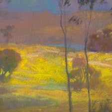 """American Legacy Fine Arts presents """"Mustard Field; Batiquitos Lagoon"""" a painting by Peter Adams."""
