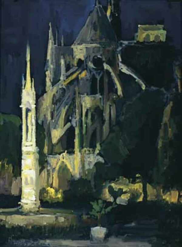 """American Legacy Fine Arts presents """"Notre Dame Cathedral before Midnight, Paris"""" a painting by Peter Adams."""