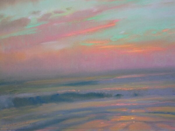 """American Legacy Fine Arts presents """"Opalescent Sunset; St. Malo"""" a painting by Peter Adams."""