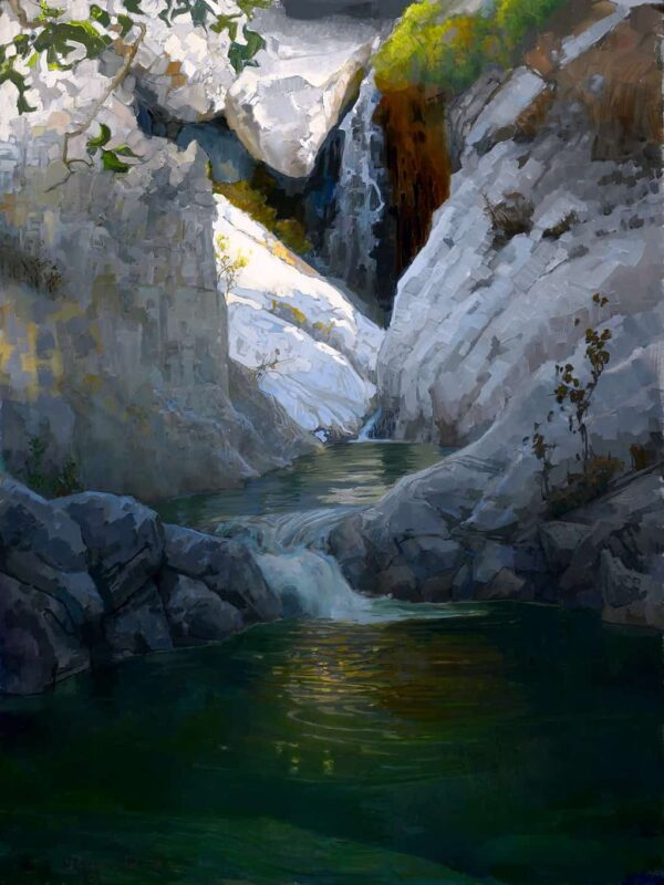 """American Legacy Fine Arts presents """"Pools Above Sturtevant Falls; San Gabriel Mountains"""" a painting by Peter Adams."""