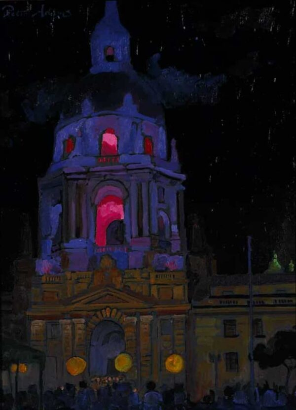 """American Legacy Fine Arts presents """"Reopening Celebration of City Hall; Pasadena, July 15, 2007"""" a painting by Peter Adams."""