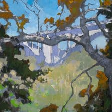 """American Legacy Fine Arts presents """"Rosey's View of the Arroyo"""" a painting by Peter Adams."""