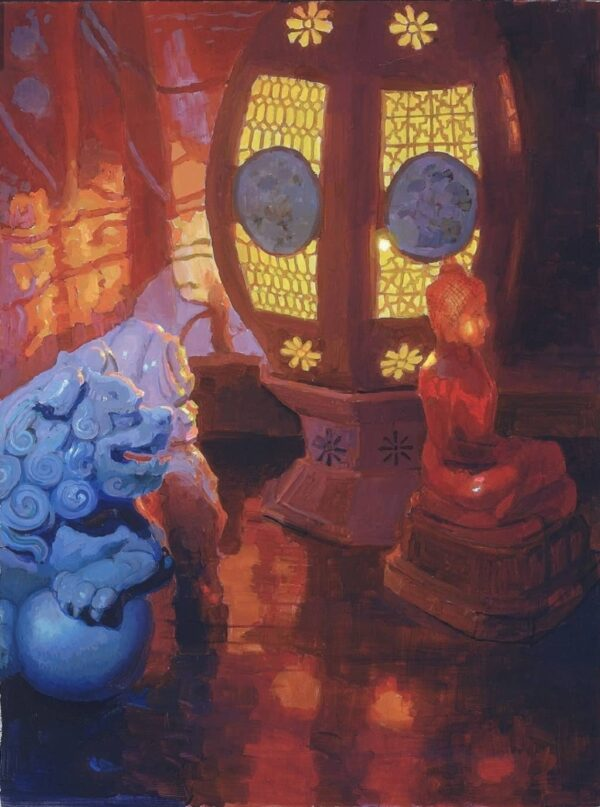 """American Legacy Fine Arts presents """"Shielding the Sukhothai Amber Buddha"""" a painting by Peter Adams."""