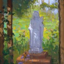 """American Legacy Fine Arts presents """" St. Theresa in the Garden' a painting by peter Adams."""
