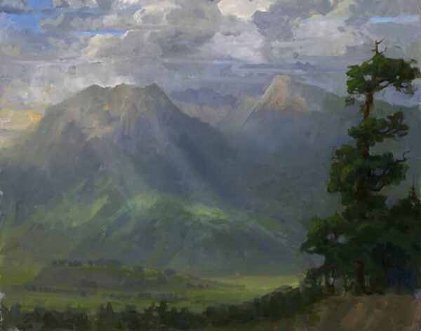 """American Legacy Fine Arts presents """"Storm Break over Little Bear and Mt. Blanca"""" a painting by Peter Adams."""