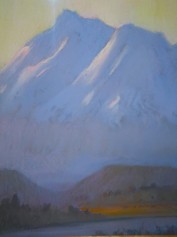 """American Legacy Fine Arts presents """"Sunrise on Mount Shasta"""" a painting by Peter Adams."""