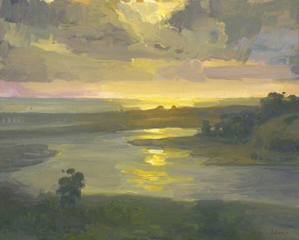 """American Legacy Fine Arts presents """"Sunset over Batiquitos Lagoon"""" a painting by Peter Adams."""