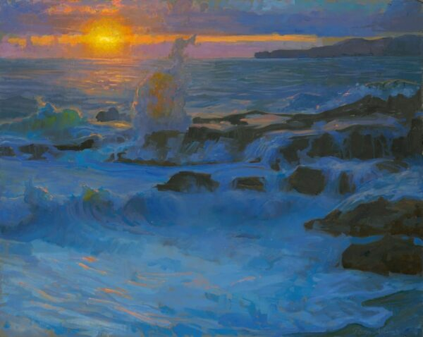 """American Legacy Fine Arts presents """"Surge at Sunset"""" a painting by Peter Adams."""