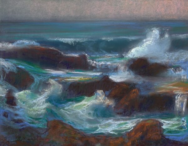 """American Legacy Fine Arts presents """"Surging Waves at Treasure Island; Laguna Beach"""" a painting by Peter Adams."""