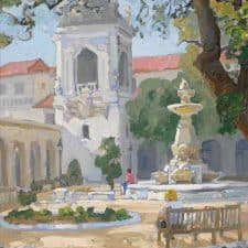 """American Legacy Fine Arts presents """"Under the Oak; Pasadena City Hall"""" a painting by Peter Adams."""
