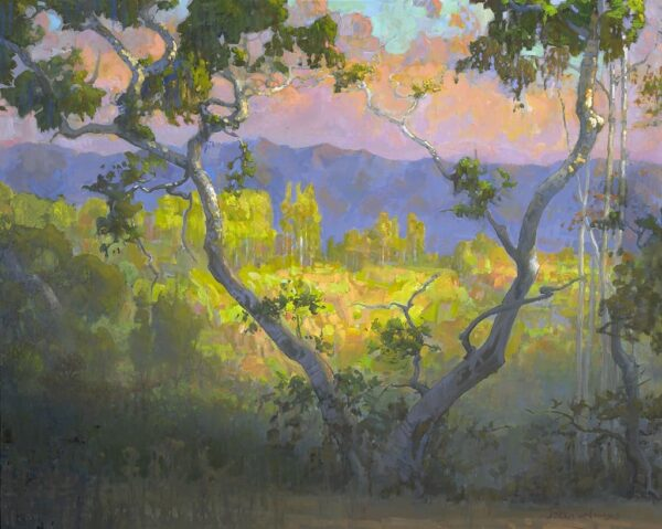 """American Legacy Fine Arts presents """"View of Amir's Garden at Sunrise; Griffith Park"""" a painting by Peter Adams."""
