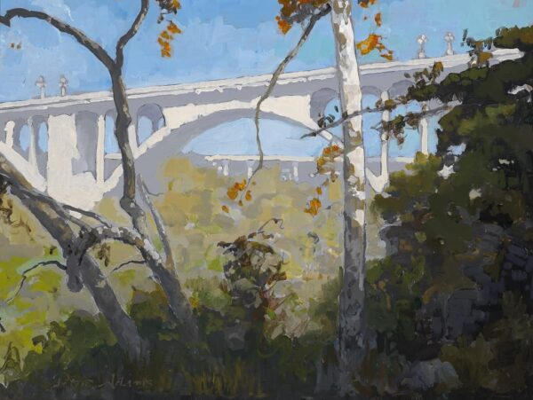 """American Legacy Fine Arts presents """"View of Colorado Street Bridge through the Sycamores"""" a painting by Peter Adams."""
