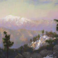"""American Legacy Fine Arts presents """"View from Mt. Baldy from Mt. Waterman at Dusk"""" a painting by Peter Adams."""
