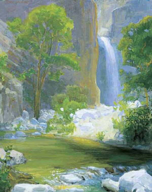 """American Legacy Fine Arts presents """"Waterfall at Eaton Canyon"""" a painting by Peter Adams."""