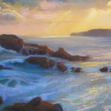 """American Legacy Fine Arts presents """"Winter Evening Light, Abalone Cove, Palos Verdes"""" a painting by Peter Adams."""