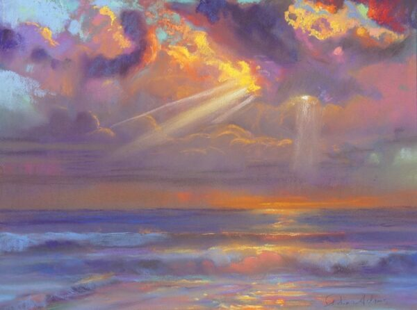 """American Legacy Fine Arts presents """"Winter Sunset"""" a painting by Peter Adams."""