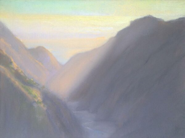 """American Legacy Fine Arts presents, """"Afternoon Rays at Silver Canyon Catalina Island"""" a painting by Peter Adams."""