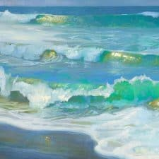 """American Legacy Fine Arts presents """" Light on Morning Waves"""" a painting by Peter Adams."""
