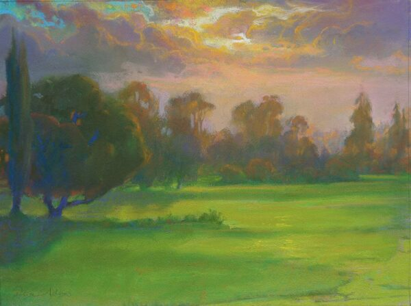 """American Legacy Fine Arts presents """"Sunset Glow over the North Course"""" a painting by Peter Adams."""